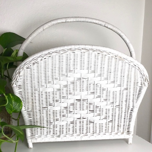 Vintage White Wicker Boho Magazine Rack Basket